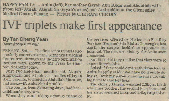 IVF Triplets Make First Appearance