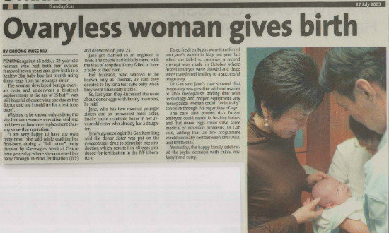 Ovaryless Women Gives Birth