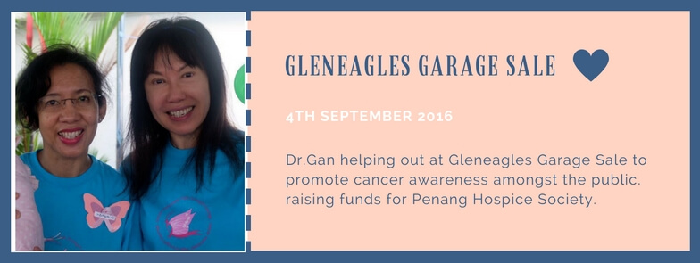 Dr.Gan helping out at Gleneagles Garage Sale to promote cancer awareness amongst the public, raising funds for Penang Hospice Society.