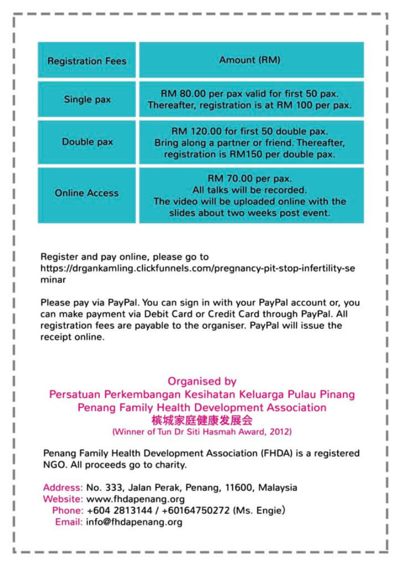 Pregnancy Pit Stop Seminar Pricing and Ticket Sales